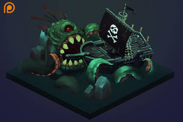 -Isometric Pirate Ship- progress by Sephiroth-Art
