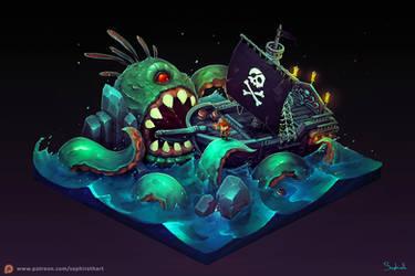 Isometric Pirate Ship by Sephiroth-Art