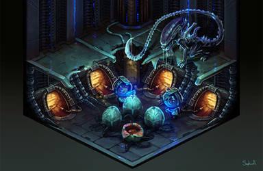 Isometric ALiens Scene by Sephiroth-Art
