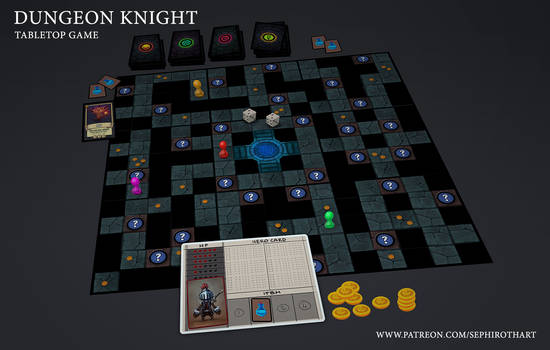 Dungeon Knight Board Game MockUp