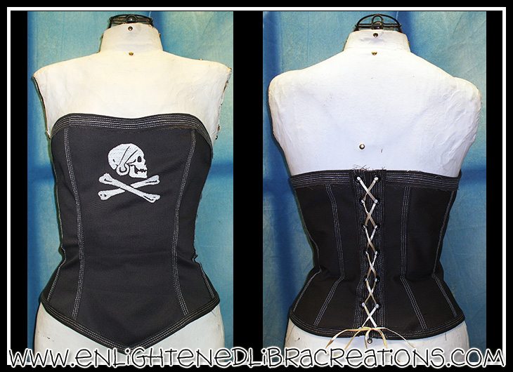 Skul N Bones Corset Top by RedheadThePirate