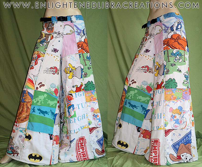 80s-Cartoons-Patchwork-Phat-Pants by RedheadThePirate