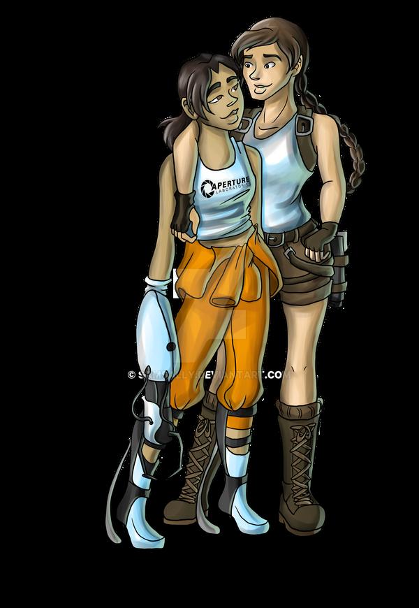 Chell and Lara Croft Full Color by Samsally on DeviantArt