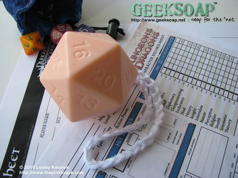 D20 dice Soap on a Rope -3D-