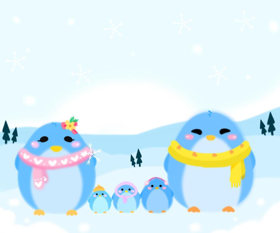 Cute Winter Penguin Wallpaper