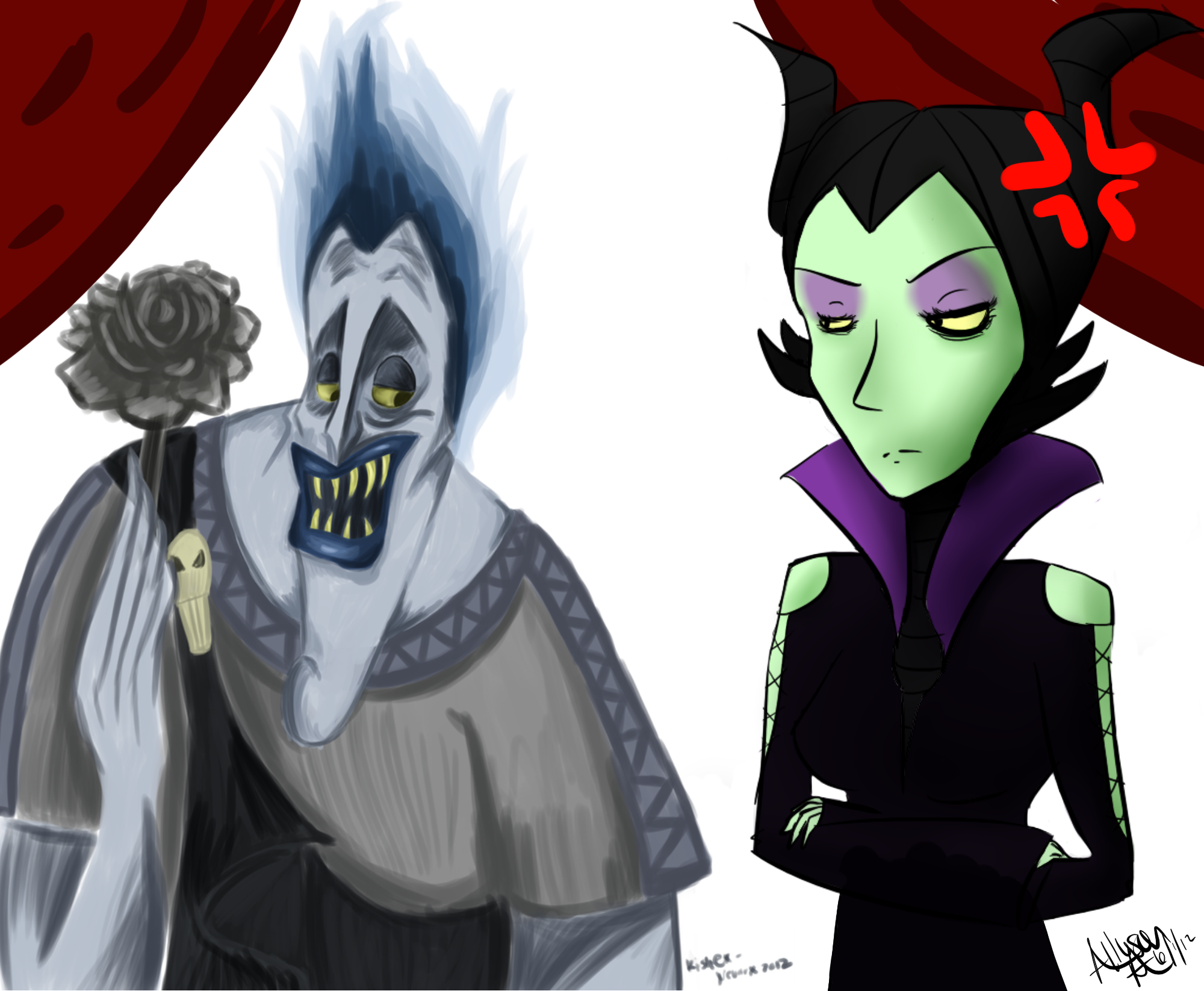 Art Collab: Maleficent and Hades by AzeeraTheNinja