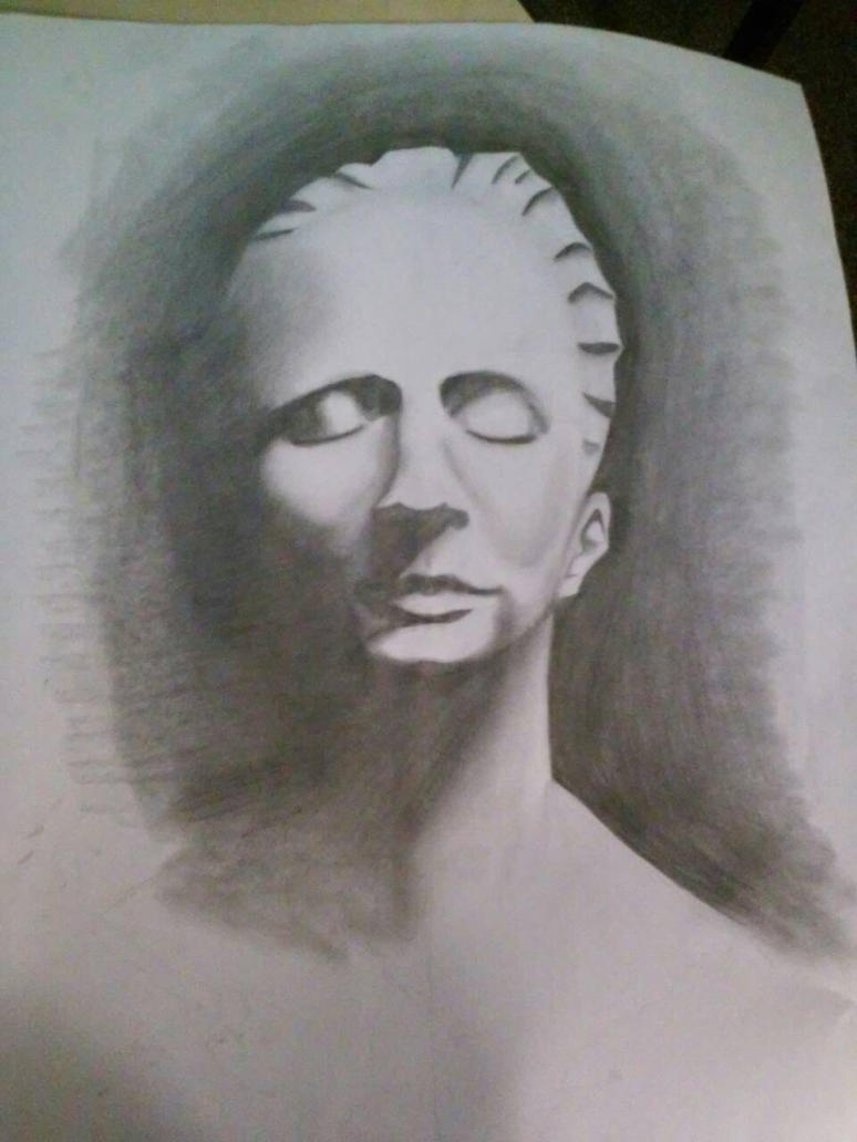 Head Statue Drawing by AzeeraTheNinja
