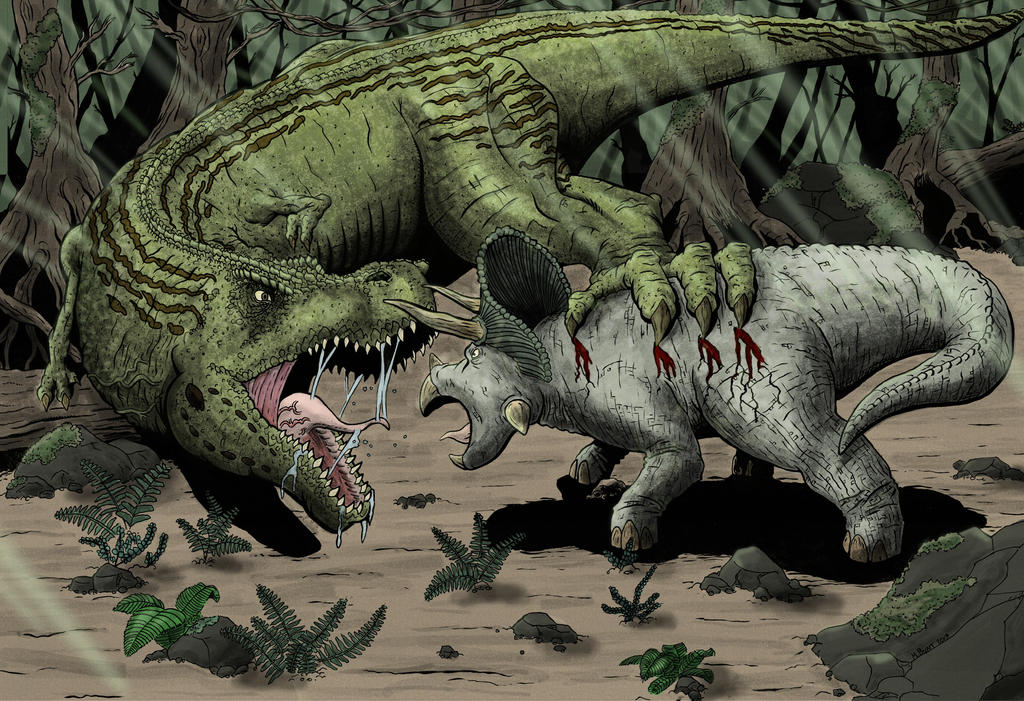 Robot Cyb Tyrannosaurus RexT Rex Vs Triceratops Fighting