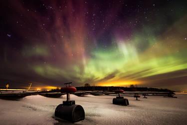 aurora borealis at oulu by Timosetae