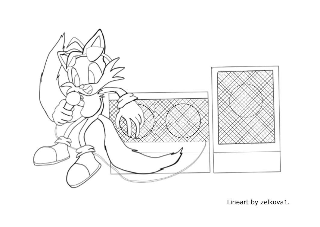 DJ Tails Lineart by Adam-Clowery