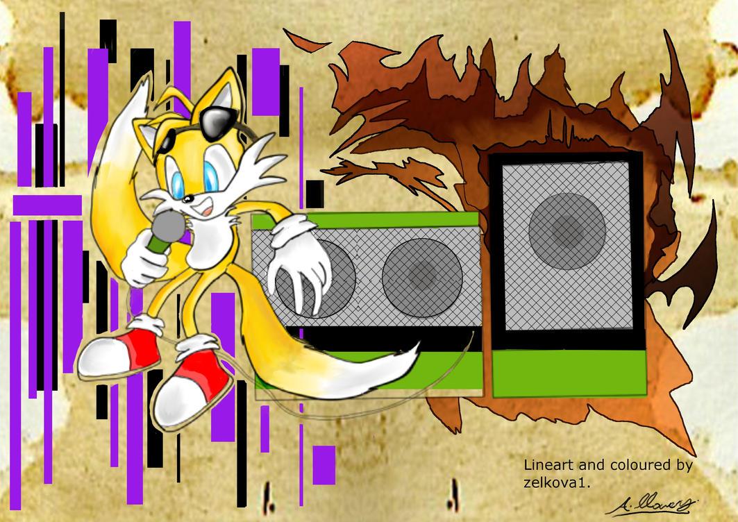 DJ Tails coloured by Adam-Clowery