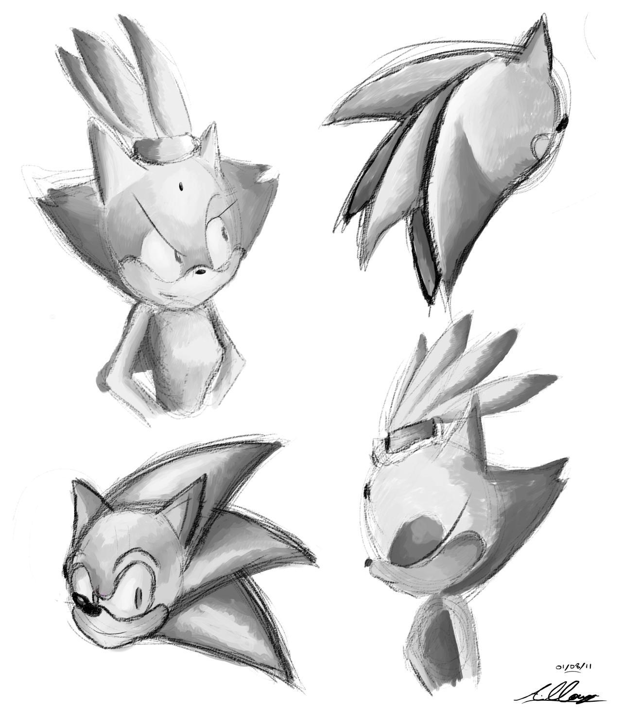 Sonic and Blaze speedpaintings by Adam-Clowery