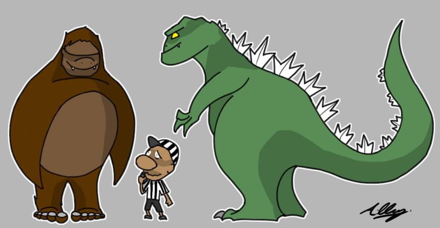 King Kong vs Godzilla Cartoon by Adam-Clowery