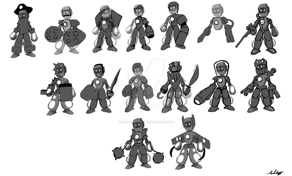 Robot Character Roughs by Adam-Clowery