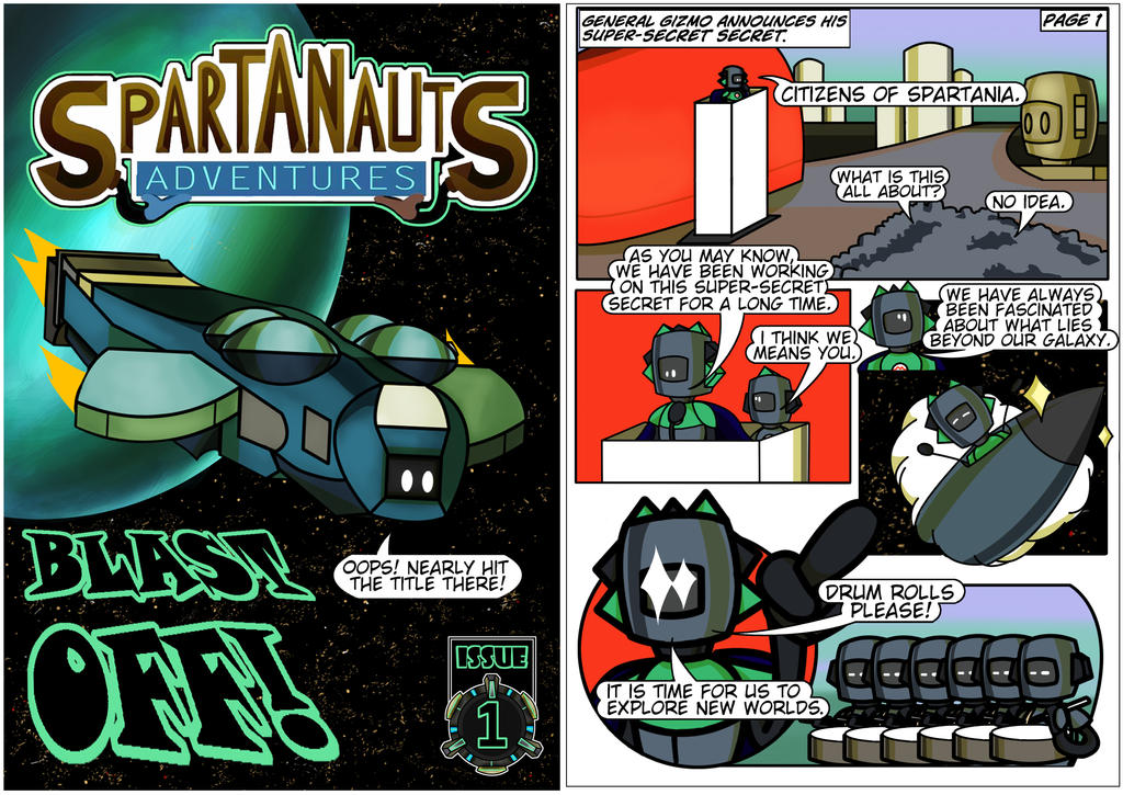 Spartanauts Adventures Comic Page 1 by Adam-Clowery