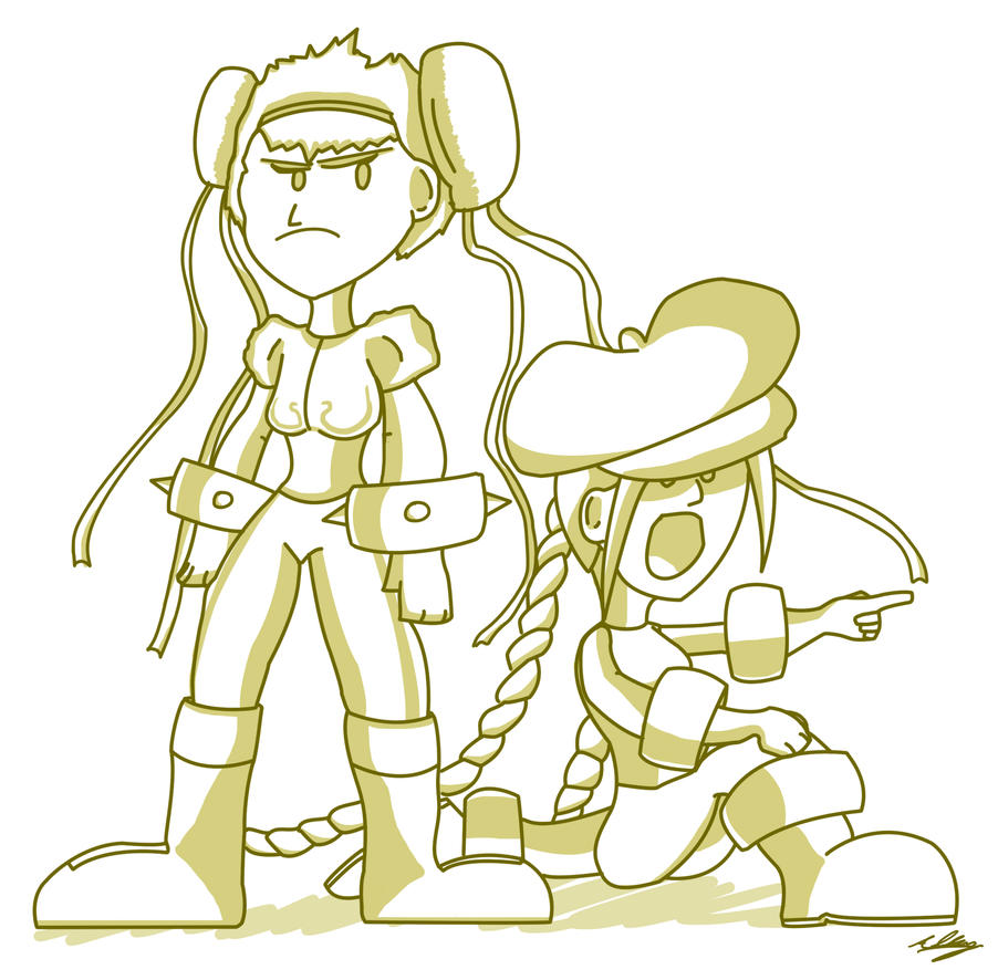 Chun-Li and Cammy Doodle by Adam-Clowery