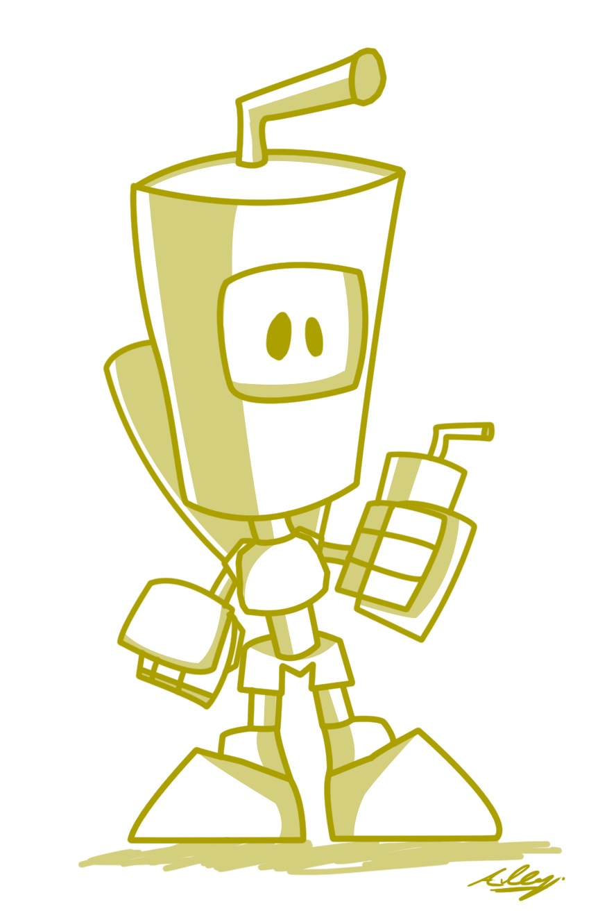 Juice Carton Bot Morning doodle by Adam-Clowery