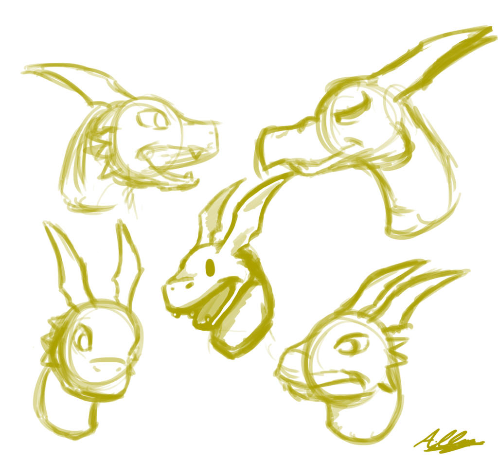 Guilmon doodles by Adam-Clowery