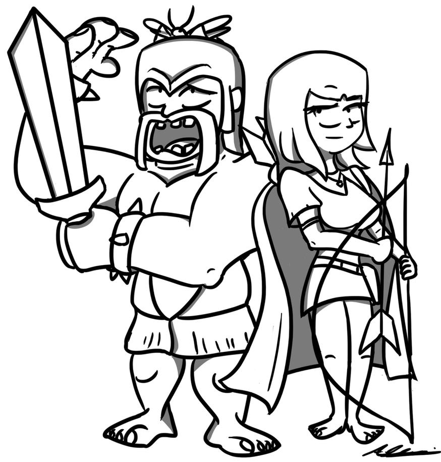 Barbarian and Archer - Clash of Clans by Adam-Clowery