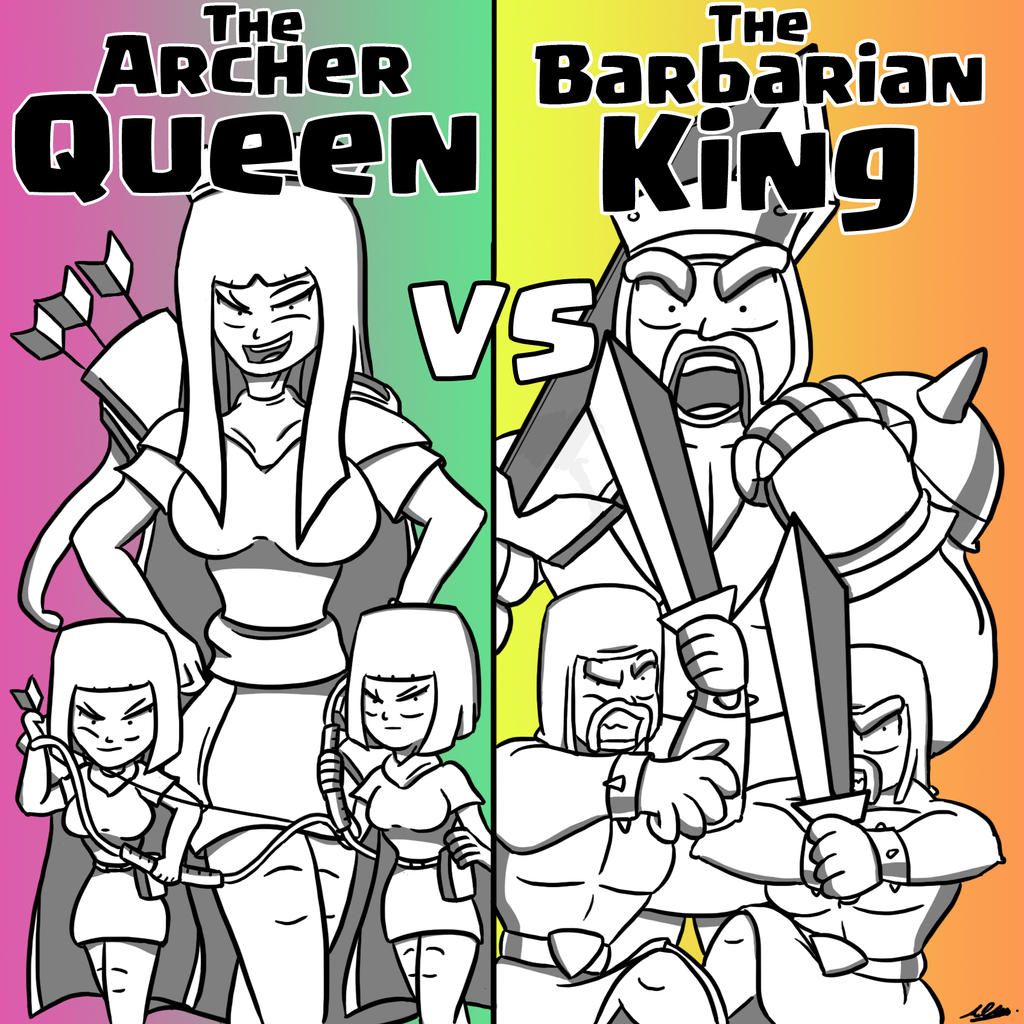 The Archer Queen vs The Barbarian King by Adam-Clowery