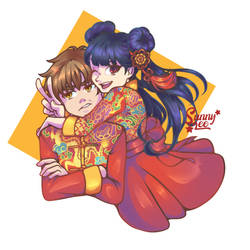 Xiao Lang and Mei Ling wish you a Happy CNY by SunnyLeeDraws