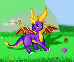 Spyro the Dragon With Sparx the Dragonfly 2018 by KendraEevee