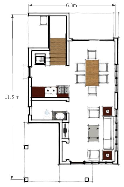 Two storey residential building ground floor plan by for Two storey residential house floor plan