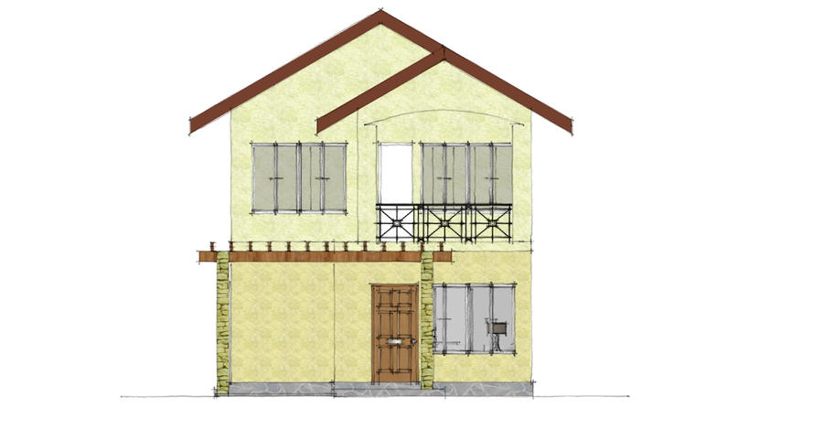 Front Elevation Residential Building Autocad : Two storey residential building front elevation by