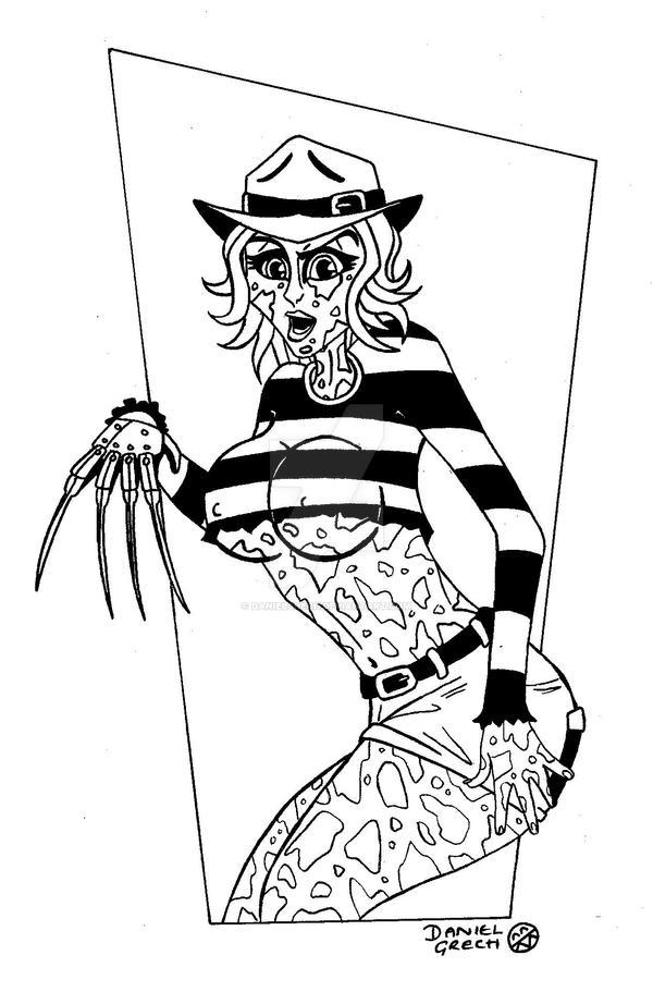 freddy krueger coloring pages - freddy krueger 39 s sister freda by danielgrech on deviantart