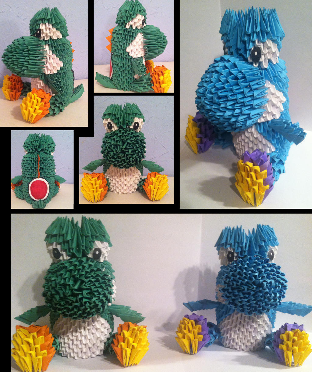 3D Origami Yoshi By Camelliawolf