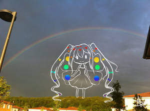 Photography. Rainbow and chibi. Pride Day