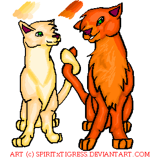 Firestar 'n Sandstorm by SpiritxTigress