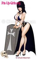 Sexy Elvira Gravedigger Pin Up by Chuck-Bauman