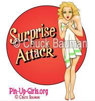 Surprise Attack Bomber Nose Art Pinup Girl by Chuck-Bauman