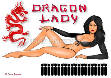 Dragon Lady Lucy Lui Bomber Nose Art Pinup Girl by Chuck-Bauman