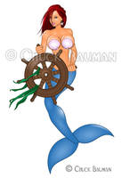 Mermaid Ship's Wheel by Chuck-Bauman