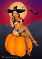 Jessica Canizales Naughty Witch Bat Tee Shirt by Chuck-Bauman