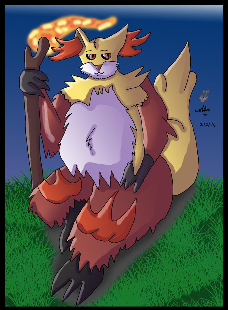 -PC- Fatty Delphox by wolfcub