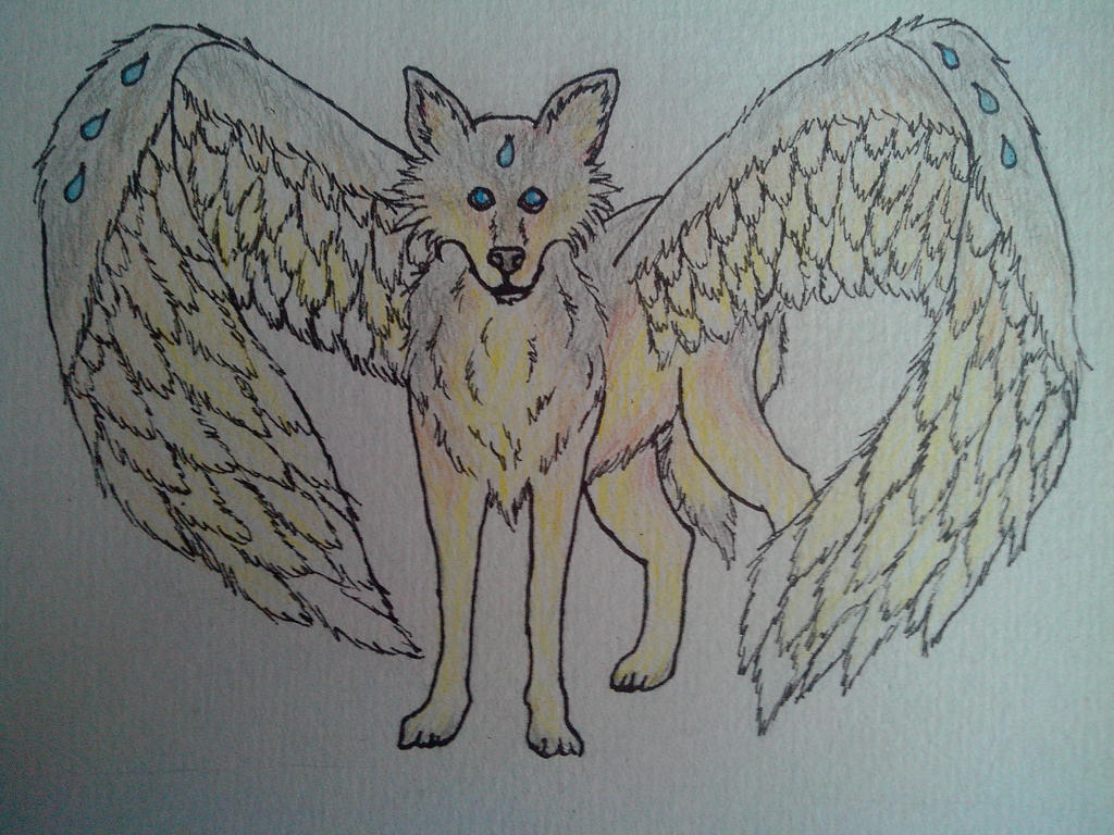 Winged Wolf by oOFrosteehOo