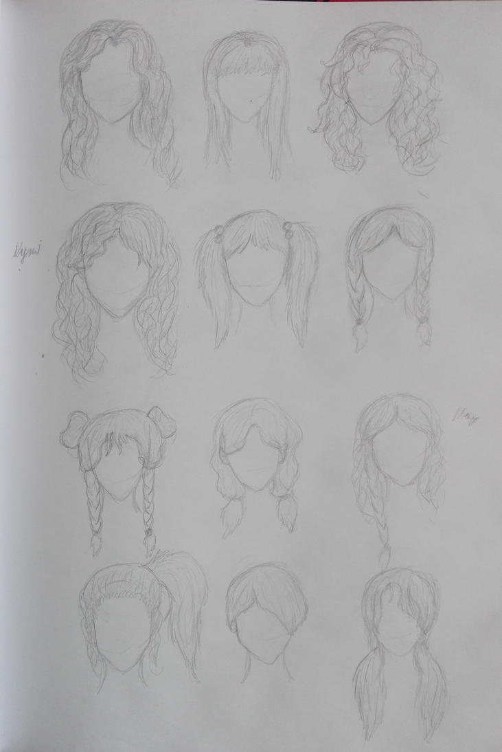Drawing Hair Study by oOFrosteehOo