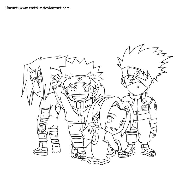 Kakashi team chibi by endzi z on deviantart for Chibi naruto coloring pages