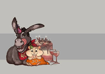 Donkey and Hamster by endzi-z