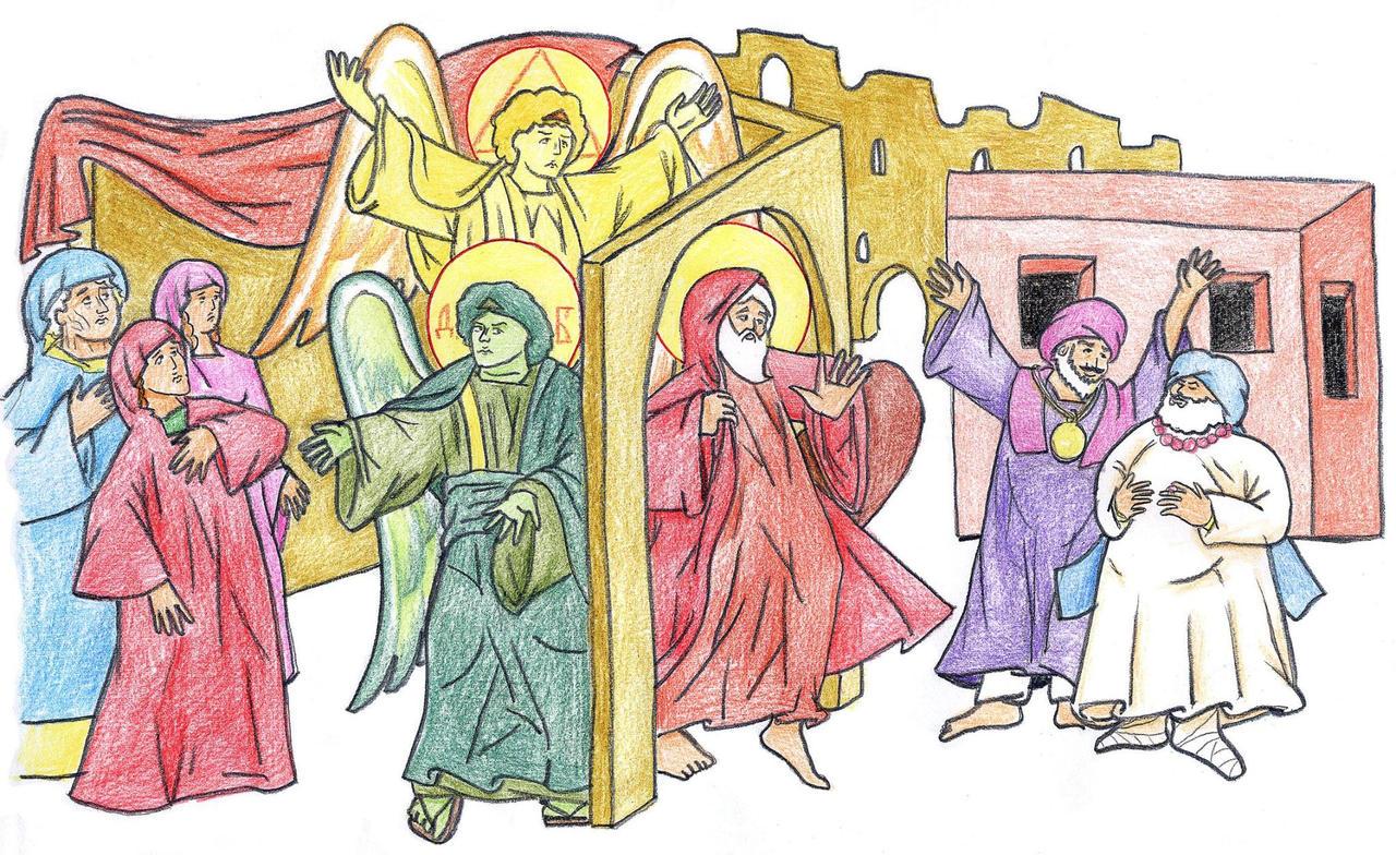 Genesis 19:12-15 (Angels Convince Lot) by Parastos