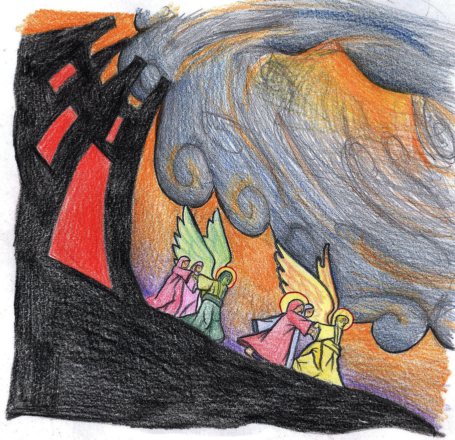 Genesis 19:16 (Angels Lead Lot's Family to Safety) by Parastos