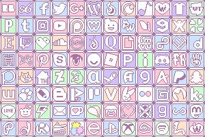 Simple Pastel Social Media Buttons by King-Lulu-Deer