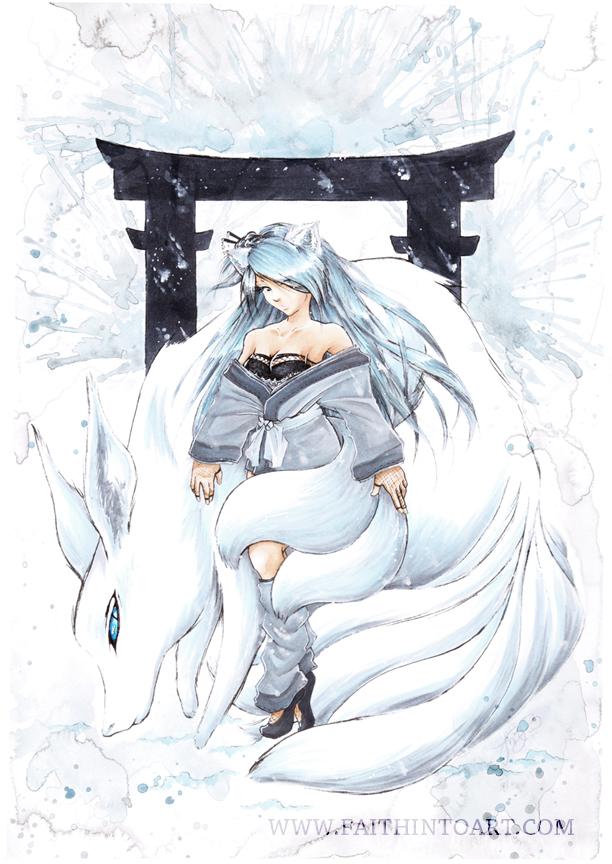 Snow Kitsune v2 by Gezusfreek