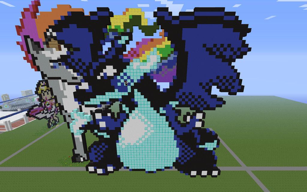 Mega Dracaufeu X Pixel Minecraft Pixelart By
