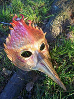 Flaming Mockingjay Leather Mask by Draikairion