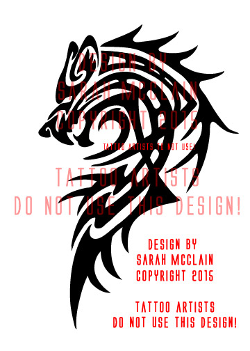 Custom Tribal Wolf Tattoo by Draikairion