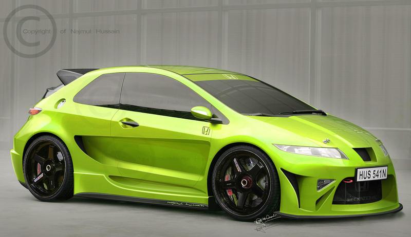 Honda Civic - Toxic Green by hussain1 on DeviantArt